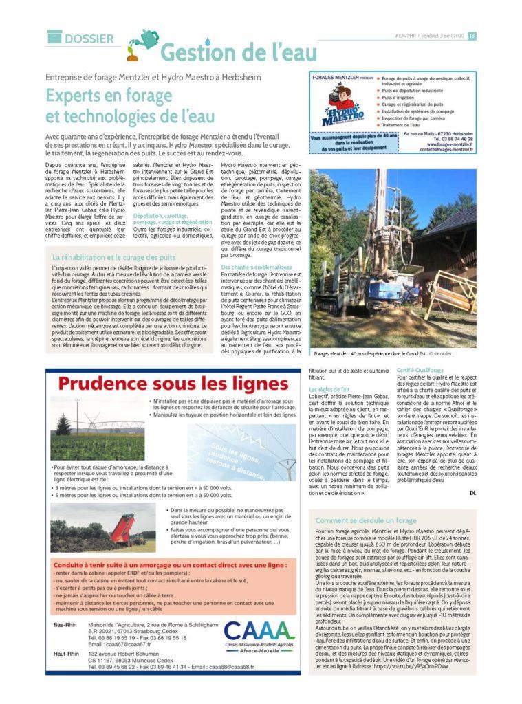 Hydro Maestro et Forages Mentzler les experts en forage et technologie de l'eau